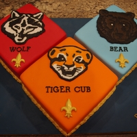 Cub Scouts Blue & Gold Banquet  Made this cake for my sons cub scouts blue and gold banquet. Thank you for all the great ideas from CC. I made the animals with royal icing...
