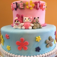 Hello Kitty Cake   Pink cake with strawberry frosting. Accented with edible pearls and sparkles.