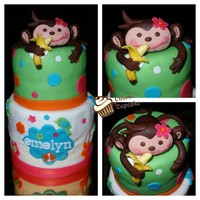 "Tropical Monkey Mini-Cake 6"" and 4"" tiers (and saggy fondant...argh!) with choclate fondant monkey"