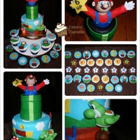 "Super Mario Mini-Cake And Cupcakes 6"" and 3"" cake with fondant Mario"