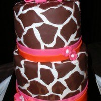 "Giraffe First Birthday Cake 6"" and 4"" buttercream with fondant"