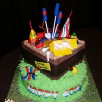 Fourth Of July Fireworks! Two layer cake with fondant and gumpaste fireworks. Unfortunately, delivery was an hour away ant it was really hot that day. By the time I...