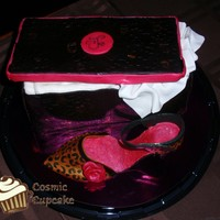 Leopard Print Shoe Shoebox is loaf pan sized. Cardboard and fondant box top. Gum paste tissue paper