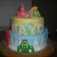 Yo Gabba Gabba Cake design chosen by customer, thanks CakeCrazyEdibleArt I hope I did your design justice! All fondant figures.