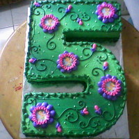 "Number Cake""tinkerbell"" Number five cake Tinkerbell themed"