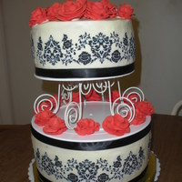 Damask Print   buttercream base, royal icing roses, ribbon borders, edible Damask image