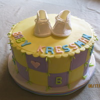 Baby Reveal Cake This is a cake that revealed the sex of a baby of an expecting couple. Very fun to make!!! Fondant decorations and gumpaste booties
