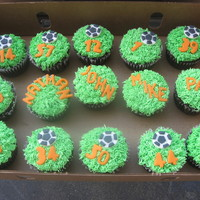 "Soccer Cupcakes I made these chocolate cupcakes for my daughter's last soccer game of the season. Decorated with buttercream ""grass"" and..."