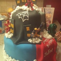 Super Hero Squad   A cake I made for my grandson.....turned out cute
