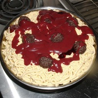 Spaghetti & Meatballs carrot cake w/cream cheese filling and icing...dark chocolate rocher meatballs...raspberry sauce. the easiest and quickest cake i've...