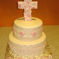 Christening Cake WASC with raspberry/bavarian filling, covered in MMF. Cross on top, flowers, and crosses are gumpaste. TFL!