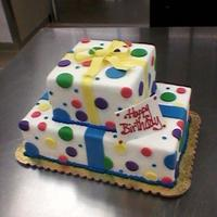 Happy Birthday   fondant covered cake with dots