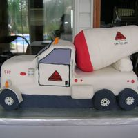 3D Cement Truck 3D cement truck fondant covered rice krispie treat barrel.