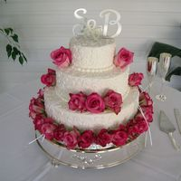 Wedding Cake With Fresh Roses white cake white icing