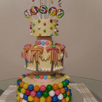 Bc Cake With Gumballs Stuck Around The Whole Bottom Tier Mini Jawbreakers For A Border On Middle Tier Candy Necklace Swags And Sour Rainb  BC cake with gumballs stuck around the whole bottom tier. Mini jawbreakers for a border on middle tier, candy necklace swags, and sour...