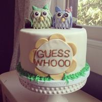 Guess Whooo? Is it a Boy or a Girl? Baby Gender Reveal Party cake! Owls are RKT covered in fondant.