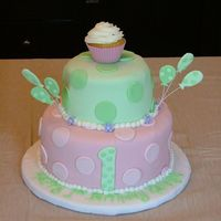 Dscf7370.jpg This cake was designed to match the invitation, which had pink and green polka dots, a cupcake, balloons and flowers. It gave me all sorts...