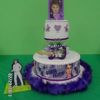 Justin Bieber Birthday Cake my grandaughter has bieber fever!haha. made this for her 6yr old birthday party. may be hard to see but inbetween the tiers i had purple...