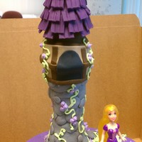 Tangled Themed Birthday Cake  Made for a little girl who was turning 4. Inspired from many on this site so thank you! WASC cake with buttercream. Tower is fondant...