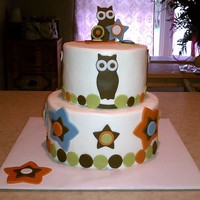"Owl Themed Baby Shower Cake Owl themed baby shower cake by request. First time using fondant at all so I had to improvise when it came to tools. Top tier is 6"",..."