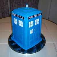 Doctor Who Tardis Doctor Who TARDIS cake. I used a 6 inch square pan. Iced w/buttercream and covered in fondant w/fondant details.