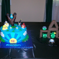 Angry Birds Cake 10 inch round cake iced w/buttercream. Figures were made with fondant.