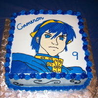 Fire Emblem (Marth) Cake This is a character named Marth from a video gamed called Fire Emblem that my son asked for on his birthday. 10 inch square cake iced in...