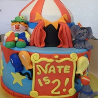 Circus Chocolate Cake covered in fondant - fondant clown and animals