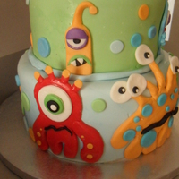 Monsters Vanilla cake w/ vanilla buttercream, chocolate cake w/ chocolate buttercream. All covered in fondant - all little monsters made from...