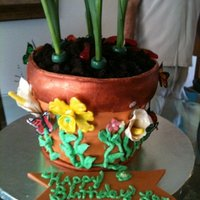 Flower Pot Cake   All edible, pot is made of fondant and handpainted , all flowers on the pot are made from sugarpaste. the cake was chocolate.