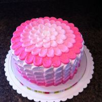 "Pink Ombre Petal Cake Ombre effect icing using petal technique. 8"" round."