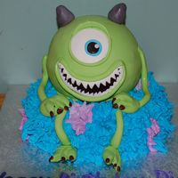 Mike Wazowski! Birthday cake for Monster's University Bday party. Birthday girl loves Mike and wanted only him. Had him sitting on James P. Sullivan...