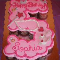 Princess Fifth Birthday Cupcake Cake A cupcake cake for a princess' fifth birthday. Decorations modeled after party supplies (shown in additional photo). Cupcakes are...