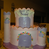 Castle Cake WASC, BC and fresh strawberry filling. MFF accents, paper towel rolls for turrets.