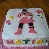 Katie's 3Rd Birthday Made Power Ranger cake for Super Hero birthday party for granddaughter and grandson with September birthdays. Made fondant plaque and stars...
