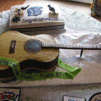 Guitar Cake  This is a sheet cake cut in the shape of a guitar. The neck is fondant on cardboard with strategically placed skewers. The strings are...