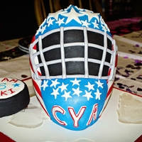 3D Hockey Goalie Mask 3D hockey goalie mask carved out of a wondermold pan and 9x13 cake cut in half and stacked. Thanks to puppylove for the help with the mask...