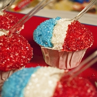 Snow Cone Cupcakes  cupcakes decorated to look like snowcones. red white and blue for this memorial day holiday. inspriation (and tutorial) thanks to the...