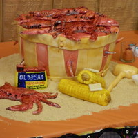 "Fondant Crabs Corn Pats Of Butter Mallet And Old Bay Container White Chocolate Bowl With Yellow Gel Butter Graham Cracker Crumbs Fondant crabs, corn, pats of butter, mallet and Old Bay container... white chocolate bowl with yellow gel ""butter"". Graham..."