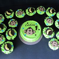 Monkey Themed Cupcakes And Smash Cake Monkey themed cupcakes, lime green frosting with fondant monkey faces, bananas and polka dots on them, matching smash cake with fondant...