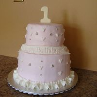 Pink First Birthday 2 tier buttercream with silver dragees for a girl's first birthday. I made a very similar cake for the mom's baby shower when she...
