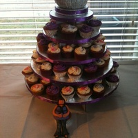 Disco Ball Cupcake Tree  I made this cupcake tree for my friend?s disco party baby shower. The disco ball is red velvet cake with cream cheese frosting, fondant...