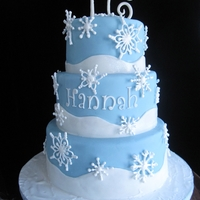 "Hannah Inspired by many cakes on CC! 6,8,10"" tiers, covered in MFF with royal icing snowflakes. TFL!"