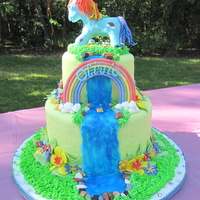 "Rainbow Dash I made this cake for my daughter's Rainbow Dash birthday party. 9"" and 6"" rainbow cake covered with MFF fondant and rainbow..."