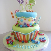 "Candy! 6"" & 8"" Confetti cake with MFF and covered in various candies. Lots of fun making this! TFL!"