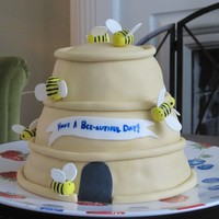 Bee-Autiful Day Birthday cake for someone who kept bees as a hobby.
