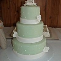 Z149886275.jpg Three tiered banana cake with fondant icing over top buttercream! White fondant hydrangeas also!