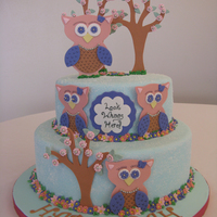 Owl Baby Shower Girl owl baby shower cake done for a co-worker. All fondant decorations. Inspired by the many other owl cake here.