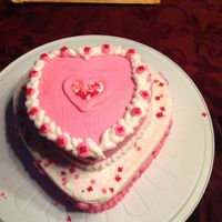 Valentine's Day Cake   Two layer heart, chocolate with buttercream frosting