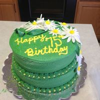 Round Tiered Birthday Cake Buttercream frosting, gumpaste flowers